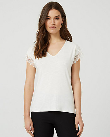 Lace & Knit V-Neck T-Shirt