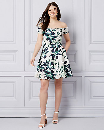 Floral Print Knit Off-the-Shoulder Dress