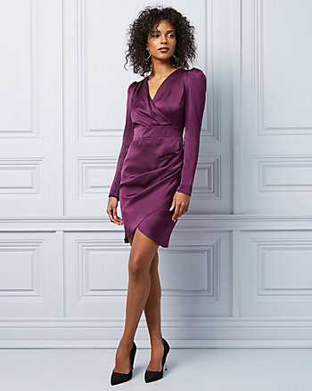 Matte Satin Wrap-like Cocktail Dress