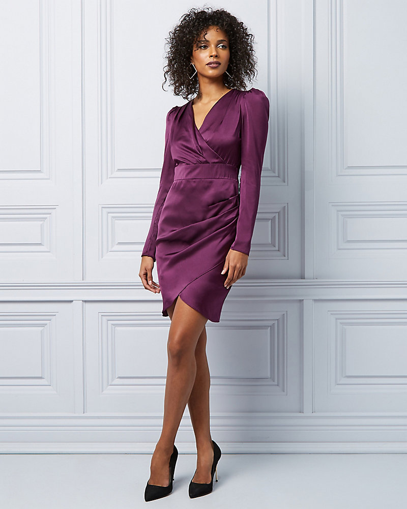 0ba4ad96713 Matte Satin Wrap-like Cocktail Dress