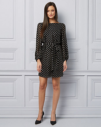 Foil Dot Print Chiffon Tunic Dress