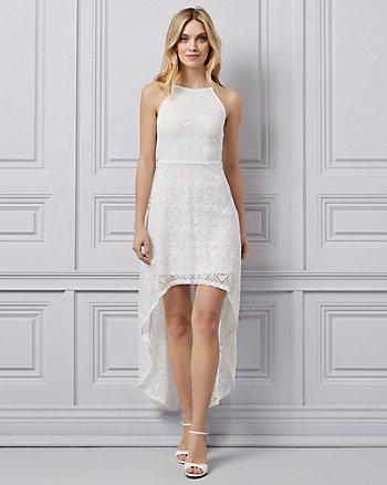 Lace Halter Neck High-Low Dress