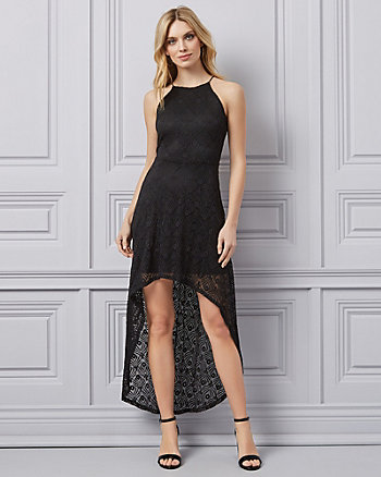 4214538b05 Lace Halter Neck High-Low Dress