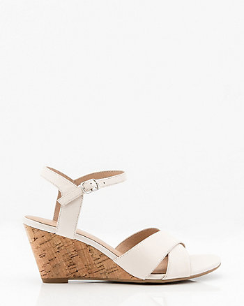 5863dae2acce Leather Criss-Cross Wedge Sandal Leather Lining