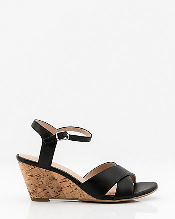 Leather Criss-Cross Wedge Sandal