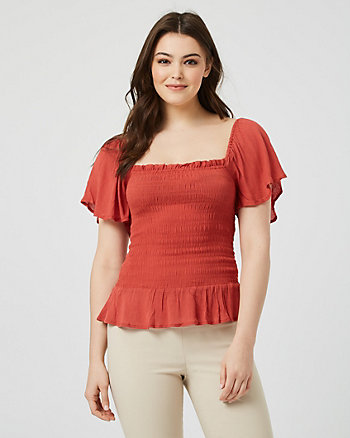 Viscose Flutter Sleeve Top