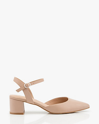 Leather Pointy Toe Block Heel Pump