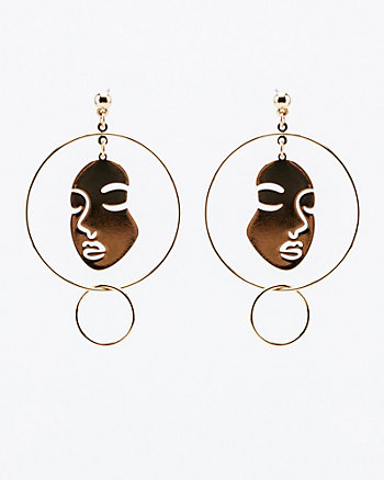 Face Silhouette Circle Drop Earrings