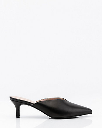 Leather Pointy Toe Slide