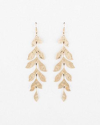 Hammered Metal Leaf Drop Earrings