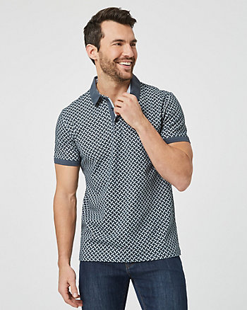 Geo Print Cotton Polo Shirt