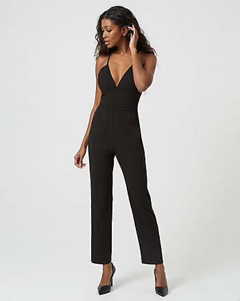 Scuba Knit & Lace Slim Leg Jumpsuit