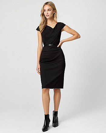 Ponte Knit Belted Sheath Dress