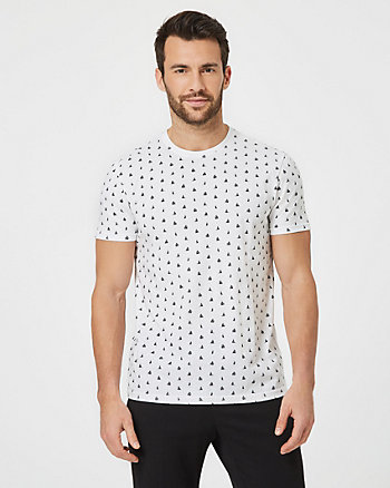 Boat Print Cotton Slim Fit T-Shirt