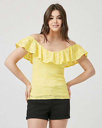 Lace Off-the-Shoulder Ruffle Top