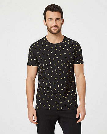 Banana Print Cotton Slim Fit T-Shirt