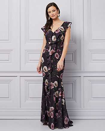 Floral Print Chiffon V-Neck Ruffle Gown