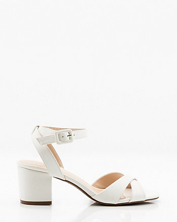Open Toe  Criss-Cross Block Heel Sandal