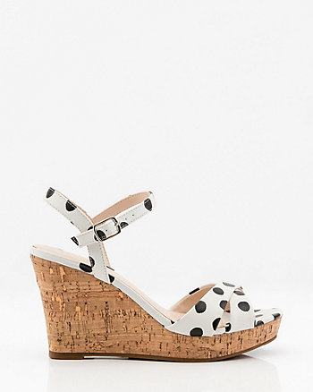 Polka Dot Criss-Cross Wedge Sandal