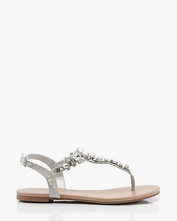 Jewel & Snake Embossed T-Strap Sandal