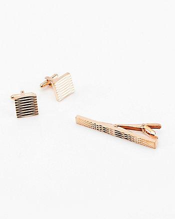 Metal Cuff Link & Tie Clip Set