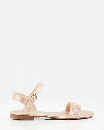 Jewel Embellished Metallic Foil Sandal