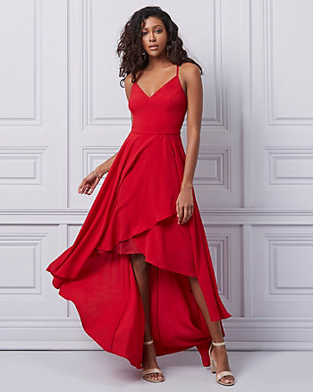 Crêpe de Chine Fit & Flare Gown