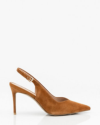 Suede Pointy Toe Slingback Pump