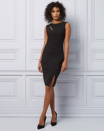 Knit Slit Boat Neck Cocktail Dress