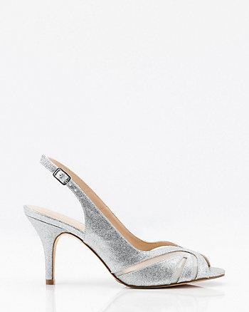 Jewel Embellished Satin & Mesh Slingback