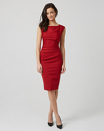 Ponte Knit Scoop Neck Sheath Dress