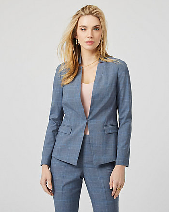 Glen Check Viscose Blend Tailored Blazer