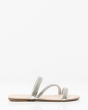 Jewel Embellished Asymmetrical Flat Sandal