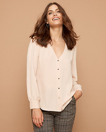 Crêpe de Chine Button-Front V-Neck Blouse