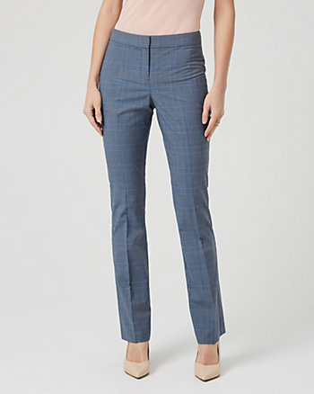 Glen Check Viscose Blend Flare Leg Trouser