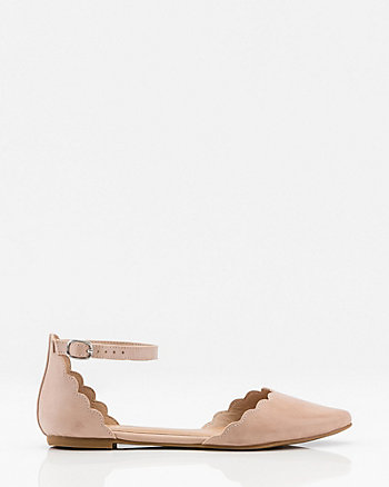 Scalloped Pointy Toe d'Orsay Flat