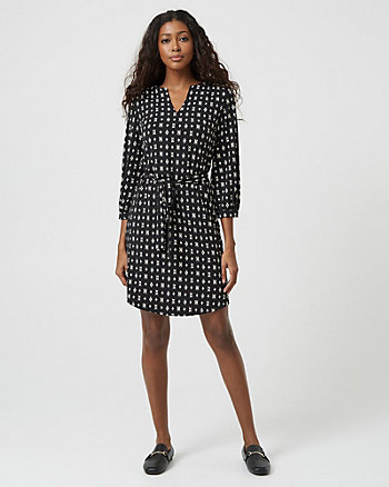 Scarf Print Knit V-Neck Shirtdress