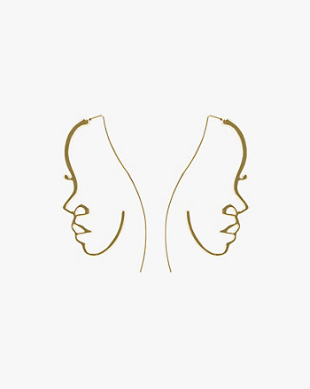 Half Face Silhouette Drop Earrings