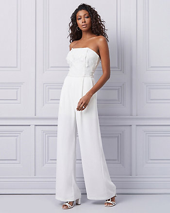 Crêpe & Lace Wide Leg Jumpsuit