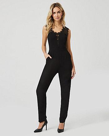 Crêpe & Lace Slim Leg Jumpsuit