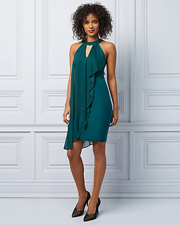 Knit Halter Neck Ruffle Cocktail Dress