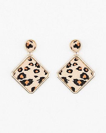 Leopard Print Geometric Drop Earrings
