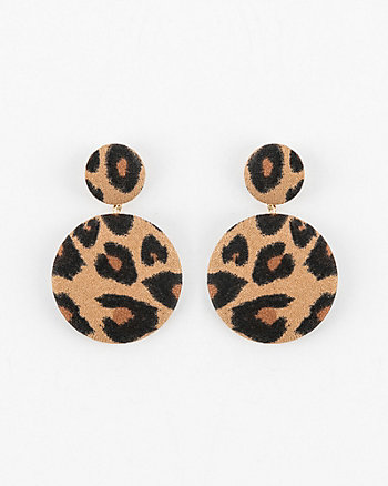 Leopard Print Circle Drop Earrings