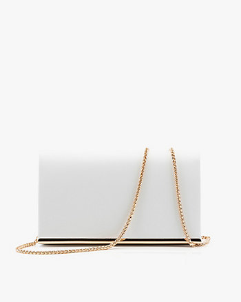 Faux Leather Flapover Clutch