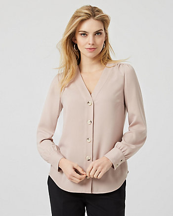 Crêpe Button Front Long Sleeve Blouse