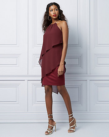 Chiffon Halter Neck Ruffle Dress