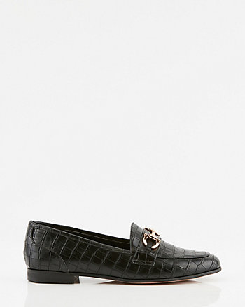 Croco Embossed Faux Leather Loafer