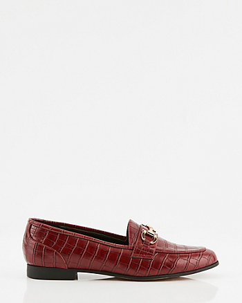 Croco Faux Leather Round Toe Loafer