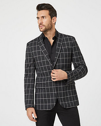 Windowpane Viscose Blend Slim Fit Blazer