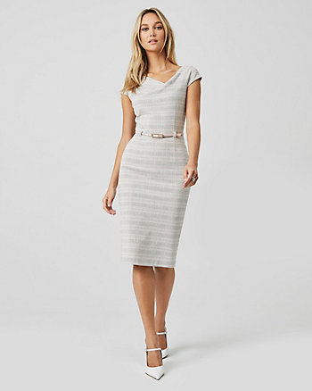 Check Print Double Knit Asymmetrical Dress